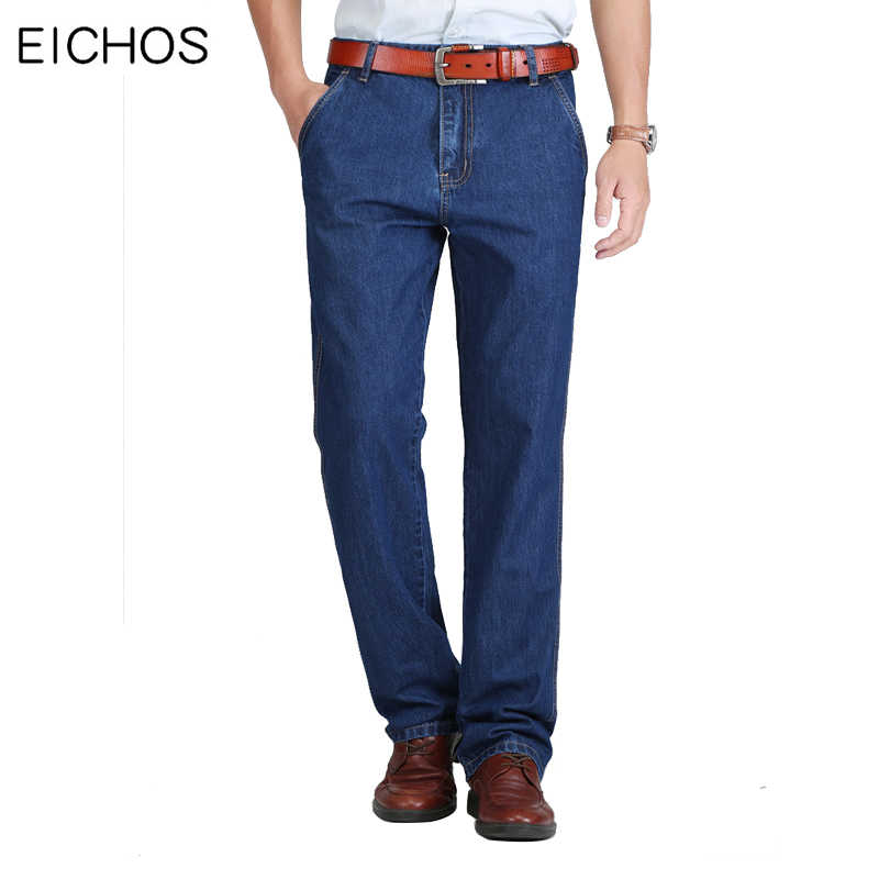 Summer Mens Denim Pants Classic Straight High Waist Overalls Men Jeans 100% Cotton Middle aged Style Casual Jean Loose Homme