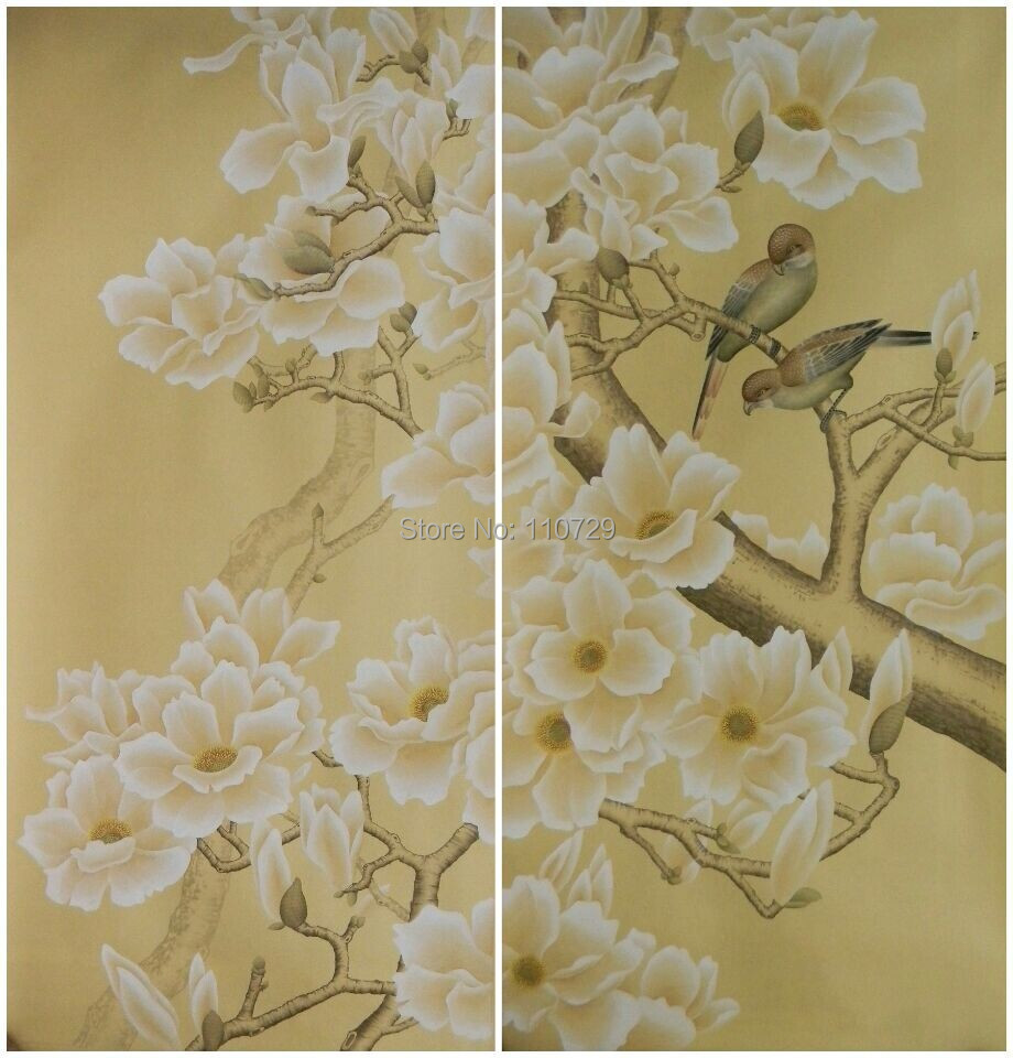 hand painted silk wallpaper painting flowers with birds hand-painted wall paper wallcovering TV/porch/bedroom/Sofa background hand painted silk wallpaper painting lotus with birds hand painted wall paper wallcovering many pictures backgrounds optional