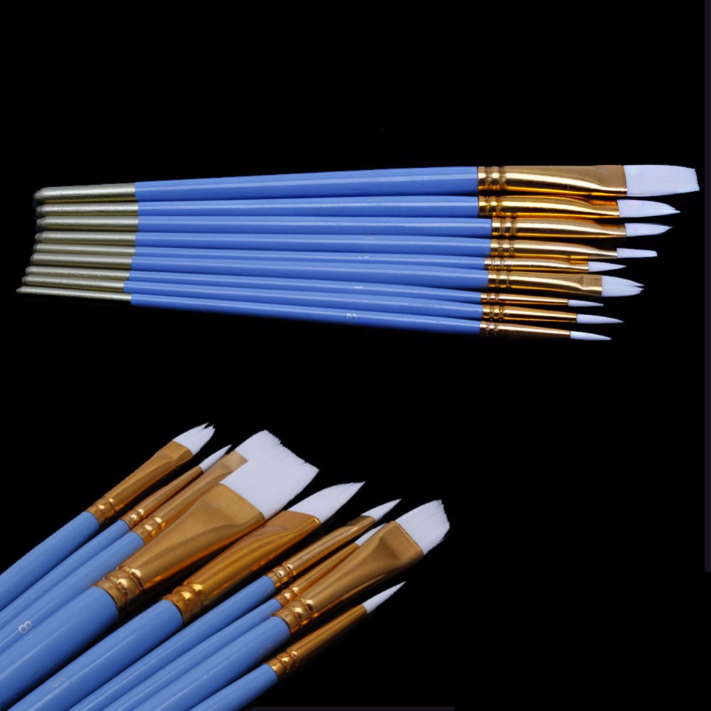 10Pcs Blue Gouache Watercolor Oil Painting Nail Art Pen Nylon White Hair Brushes -Y102