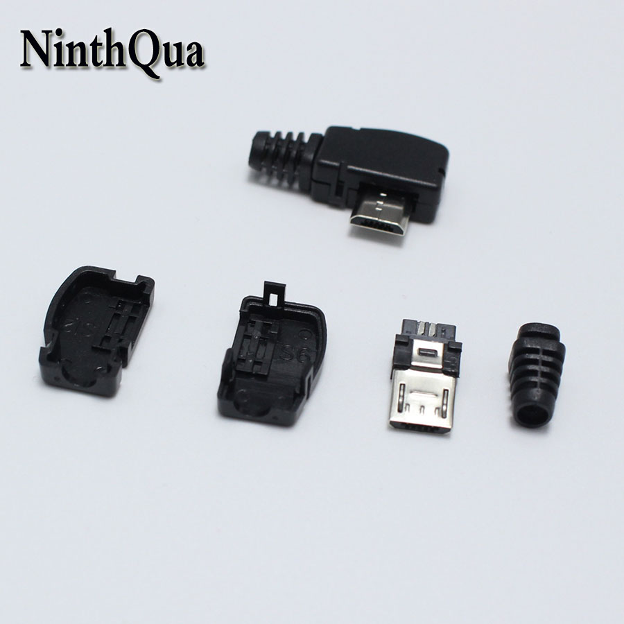 10x Micro USB 5 Pin Welding Type Male Plug Connectors Charger Plug white blackPD