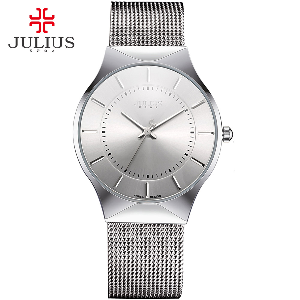 JULIUS JA-577 Men's Silver Black Mesh Stainless Steel Quartz Analog Fashion Casual Wrist Watch Male Waterproof Business Watch нож перочинный victorinox junior 85мм 8 функций красный 2 4213 ske