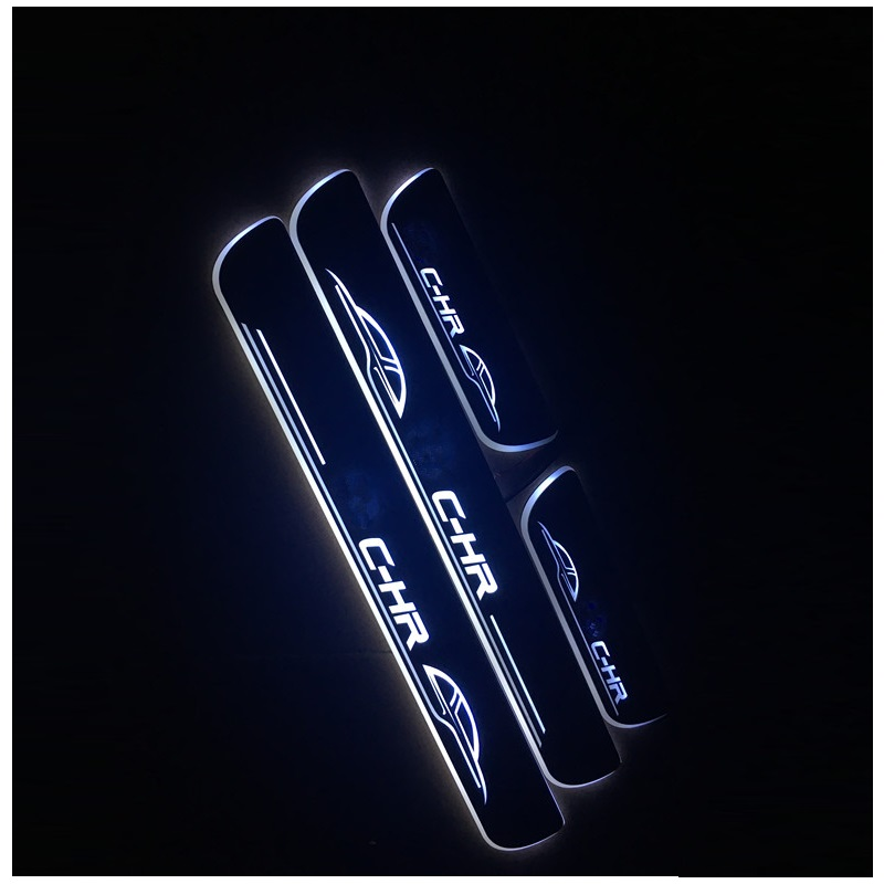 LED DOOR SILL PLATE LIGHTS moving door scuff Nerf Bars Running Boards entry guards covers fit for TOYOTA CHR C-HR CAR DOOR PLATE недорго, оригинальная цена