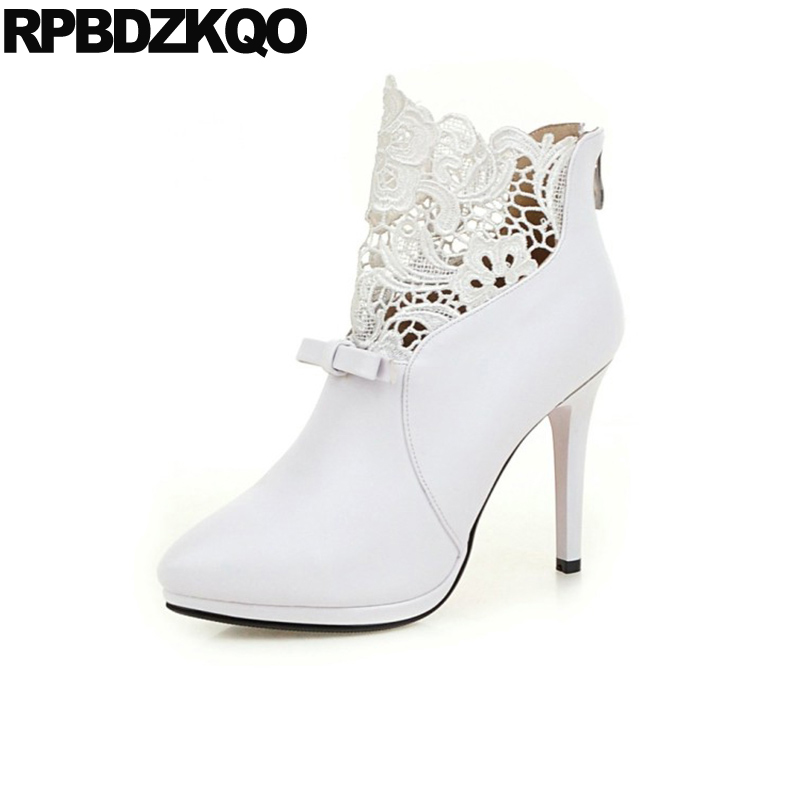 Detail Feedback Questions about Ankle Big Size Extreme 41 High Heel Bow  Sexy Stiletto Lace Shoes White Wedding Boots Ladies 10 Bridal Red Women  Booties ... c30e5eb76e0d