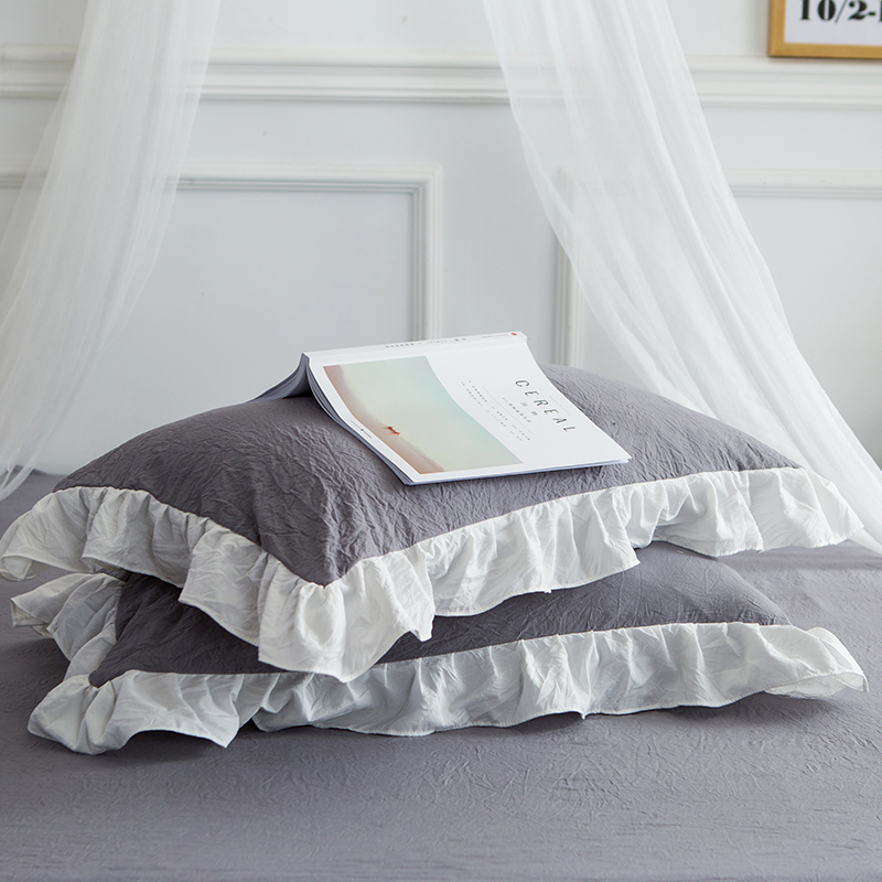 4Pcs washed modal Patchwork lace pure Bedding Set Cool summer Queen King size Duvet cover set Bed skirt Pillowcases bed linen - 6
