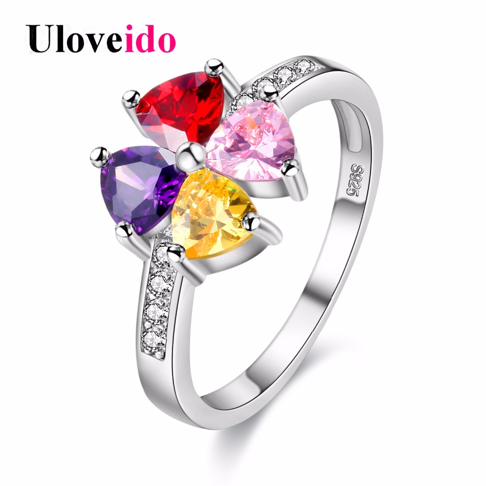 Uloveido Rainbow Women's Rings with Stones Silver Color Wedding Jewelry Female Ring Bague Femme Bijoux Flower Charms Anel Y026