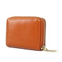 2019 New Oil Wax Leather Purses Women Short Wallets Female Purse Brand Retro Ladies Clutch Bag Zipper Woman Wallet Card