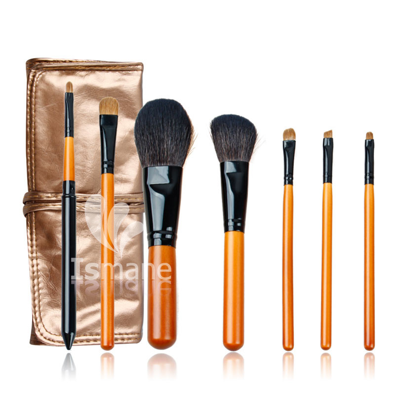 ISMINE 7Pcs Makeup Brushes Set Wood Handle Kolinsky Nylon Hair Eyeshadow Foundation Brush Goat Hair Cosmetics Kit with Bag stylish 7 pcs nylon makeup brushes set with brush bag 2 pcs foundation brush powder puffs