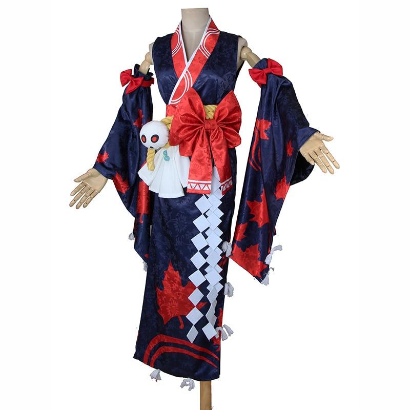 Kijo Momiji Cosplay Onmyoji japonais feuilles d'érable Kimono cosplay costume avec accessoire de coiffure