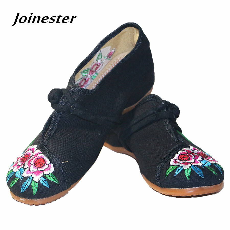 Vintage Flower Embroidered Women Spring Shoe Flat Heeled Casual Cotton Fabric Shoe with Button Ethnic Style Ladies' Flats ethnic embroidered button front women s cami dress
