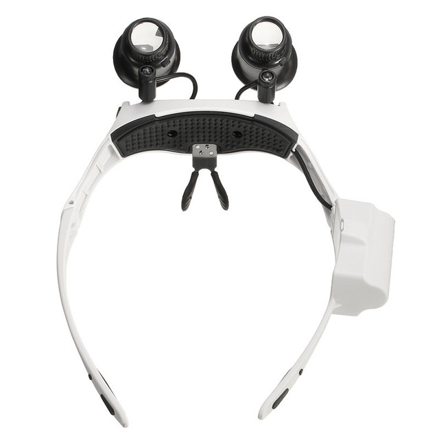 Magnifier Double Eye Glasses Loupe Lens with Lamp