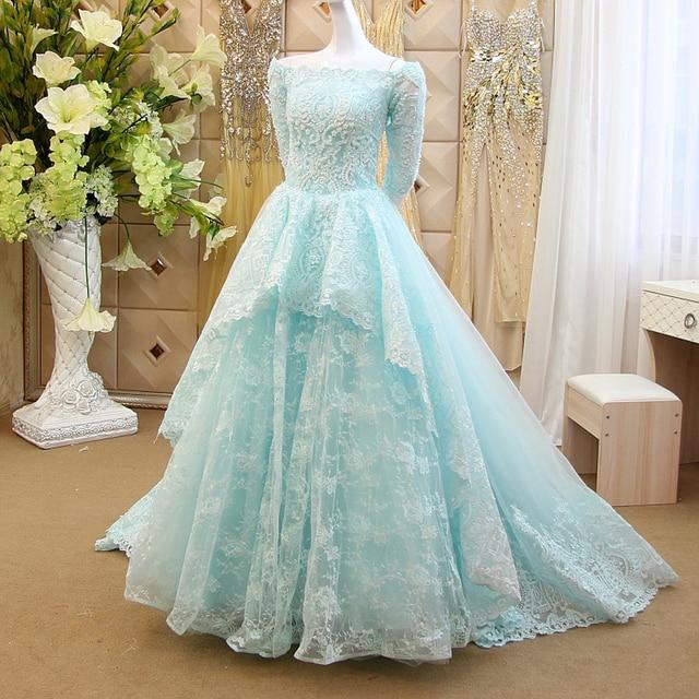 Mint Off The Shoulder Wedding Gowns Long Train Vestido De Noiva 2017 ...
