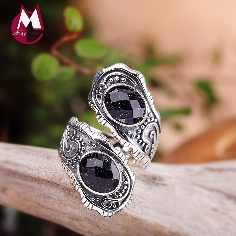 Thai Silver 925 Jewelry 925 Silver Rings For Women Red Corundum Wedding Engagement Accessories For Jewelry R55