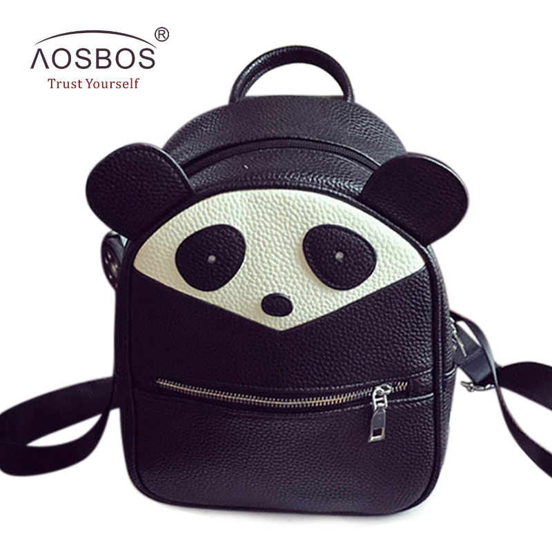 цены New Women PU Leather Backpacks Cute Panda Ears Patchwork Hit Color Shoulder Bags Casual Zipper Mini Backpack for Teenage Girls