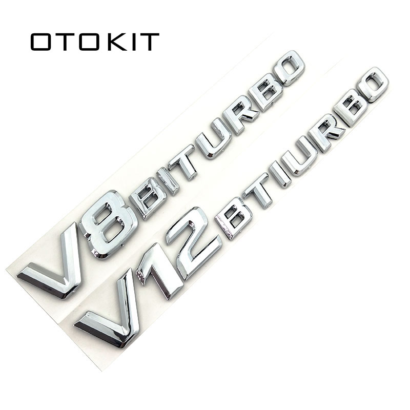 3D ABS Car Sticker V12 V8 BITURBO Logo Emblem Badge Rear Side Car-styling Sticker for Benz AMG BMW VW Mazda Chevrolet Skoda car styling for mercedes benz g series w460 w461 w463 g230 g300 g350 chrome number letters rear trunk emblem badge sticker