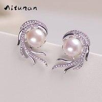 Aitunan Luxury Crystal Pearl Earrings Phoenix Inlaid Zircon Freshwater Natural Pearl Stud Earrings Genuine Charm Pearl