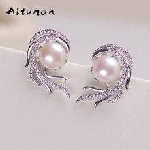 Aitunan Luxury Crystal Pearl Earrings Phoenix inlaid zircon Freshwater Natural Pearl Stud Earrings Genuine Pearl Jewelry