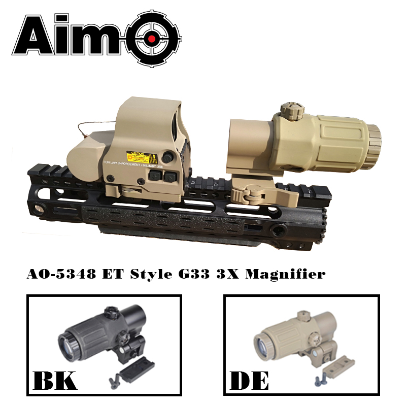 Aim O telescope Hunting Scope WADSN Style G33 3X Magnifier Holographic Sight with Switch to Side