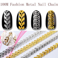 100 Yard Gold Silver Aircraft Leaf Chain Hollow 3D Metal Alloy Punk Nail Art Decorations Studs Jewelry Accessory Supplies TOP