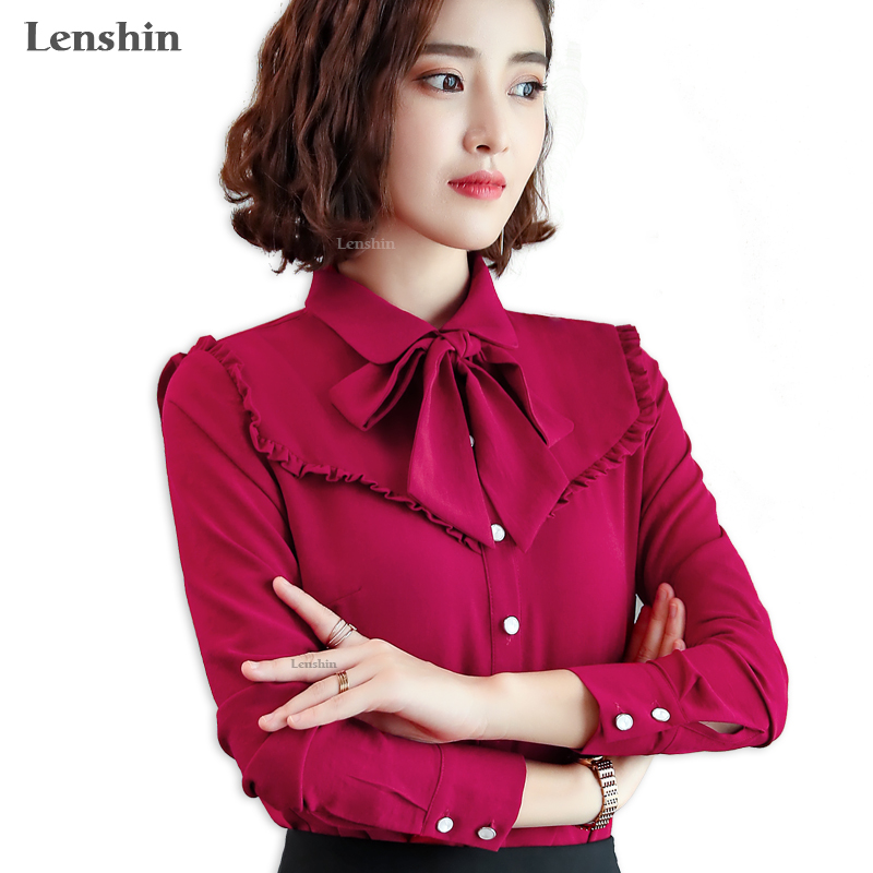 1389e36c2d38 Lenshin Candy Color Blouse Work Wear Office Lady Bow Tie shirts Female  Ruffle Tops Chemise-in Blouses   Shirts from Women s Clothing on  Aliexpress.com ...
