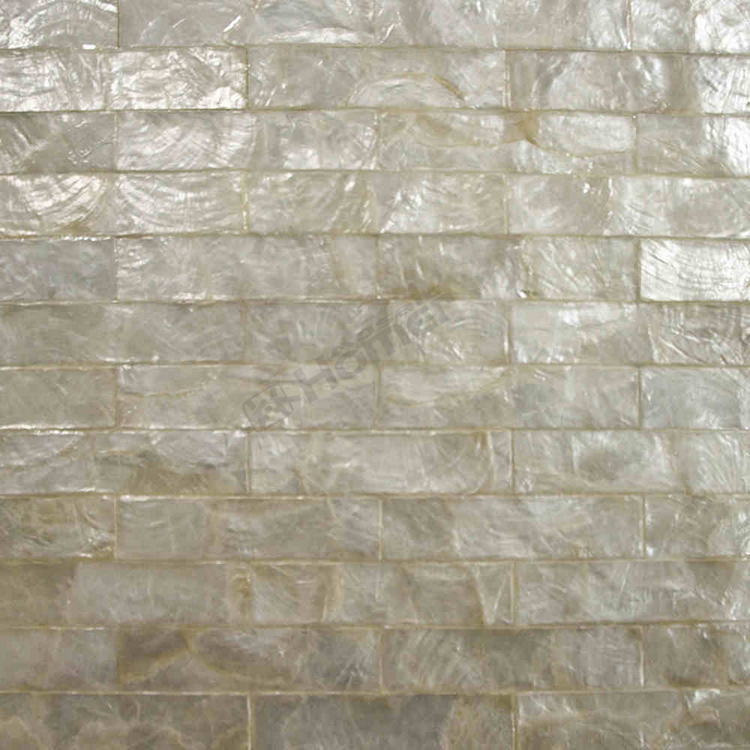 white capiz tiles brick pattern mesh backing for wall