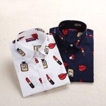 Dioufond, винтажные Женские топы и блузки, хлопковая рубашка с цветочным принтом, длинный рукав, Blusas Femininas размера плюс, модная женская одежда