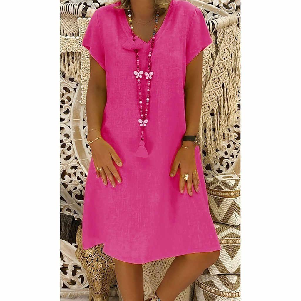 JAYCOSIN Bahar Yeni Rahat V Yaka Pamuk ve Keten Elbise Kadınlar Yaz Tarzı Pamuk Rahat Artı Boyutu Bayan Elbise 2019