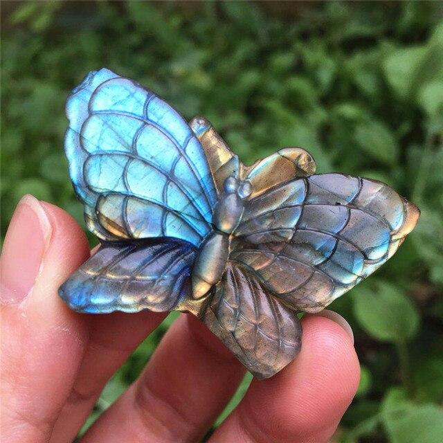 طبيعي لبرادوريت أزرق اليد منحوتة البومة مصقول كريستال أحجار الفراشة للبيع