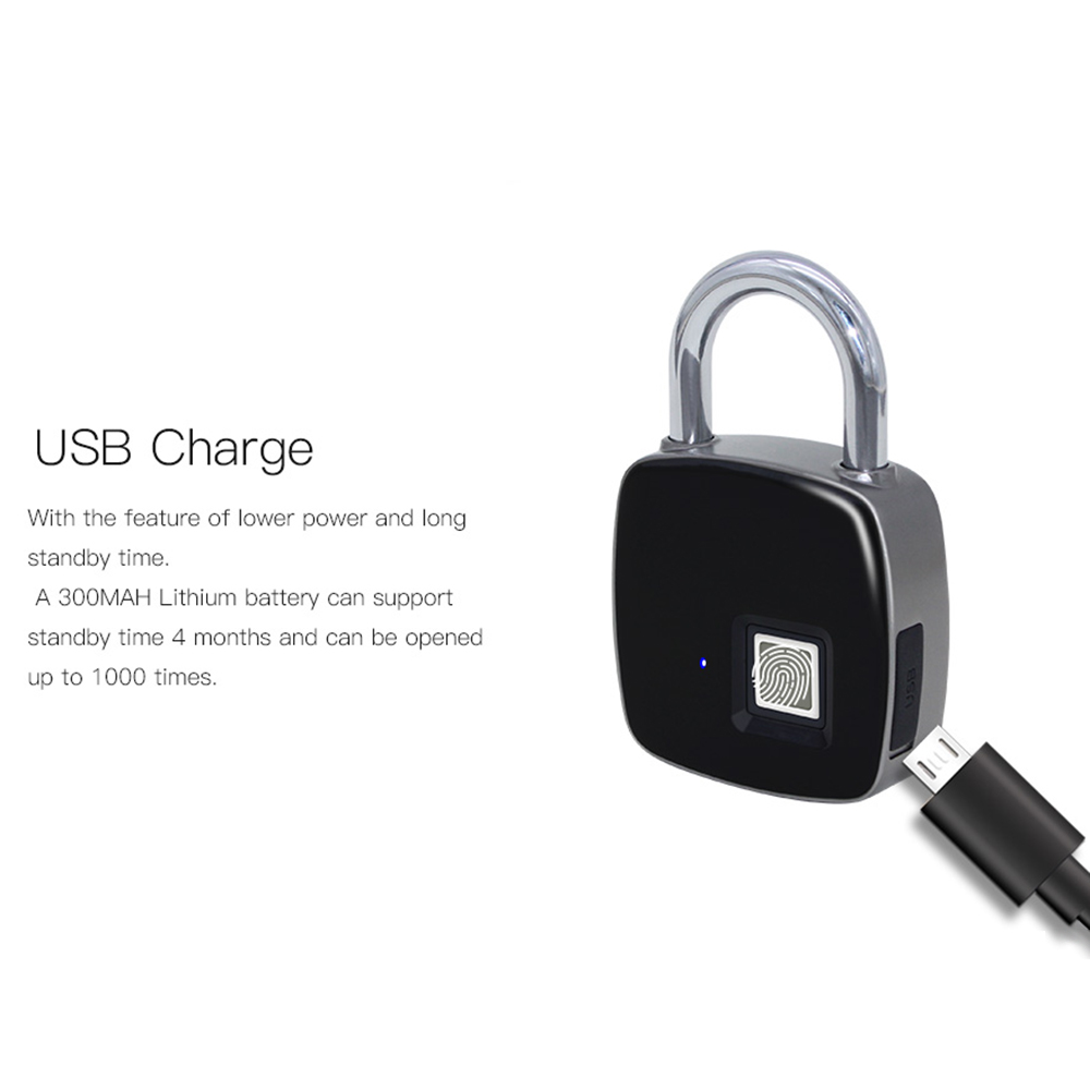 USB Rechargeable Smart Keyless Fingerprint Lock Smart Waterproof Security Electronic Backpack Luggage Cabinet Door Lock PadlockUSB Rechargeable Smart Keyless Fingerprint Lock Smart Waterproof Security Electronic Backpack Luggage Cabinet Door Lock Padlock