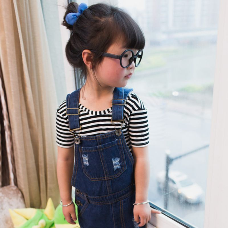 Summer Style Girl Cowboy Suspender Dress Girls Denim Strap Dress Jean Sundress Girls Summer Clothing