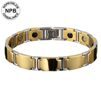 Q100 Gold Noproblem Stainless Steel Titanium Ion Magnetic Germanium Energy Power Hologram Health Bracelet