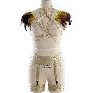 Image 3 - נוצות כתף כותפות מלא גוף רתם חזיית סט Harajuku כלוב רצועות כנפי שריפת איש פסטיבל רווה נשים בתוספת גודל