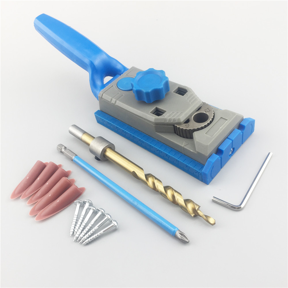 ALLSOME Pocket Hole Jig System 9.5mm Drill Guide for Kreg Wood Dowelling Jig Joinery Screws Clamping Jig Woodworking Drilling autotoolhome pocket hole jig system ph2 screwdriver bit 9 5mm step drill guide for kreg wood doweling joinery tools accessories