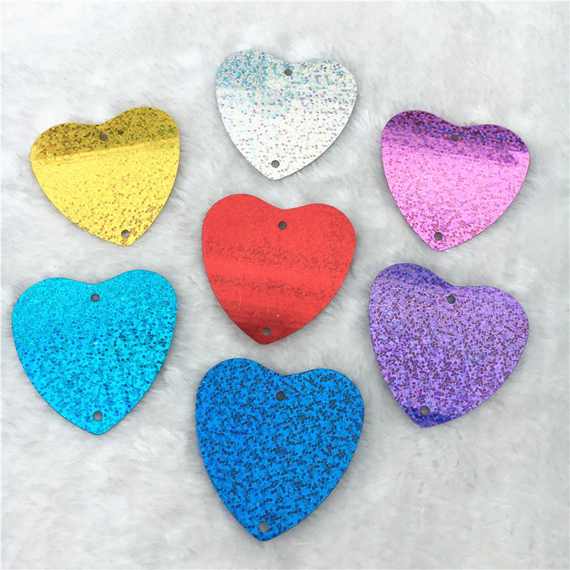 500g/pack 5.5cm large heart shape loose Sequins Paillette Sewing craft With 2 Holes Curtain Pendants belly dress Accessories