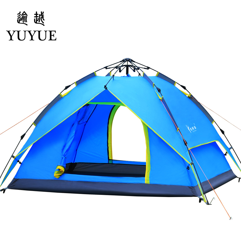 3-4 Person Pop Up Tent Quick Automatic Opening Waterproof Camping Equipment Tourism Travel Outdoors Double Layers Camping Tents gazelle outdoors синий 3 4