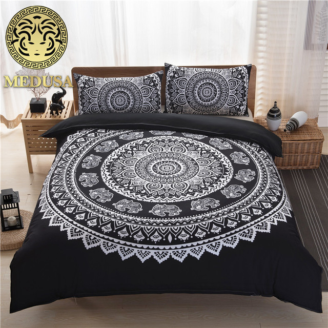 twin size duvet cover Medusa bohemian feather bedding set king queen full twin size  twin size duvet cover