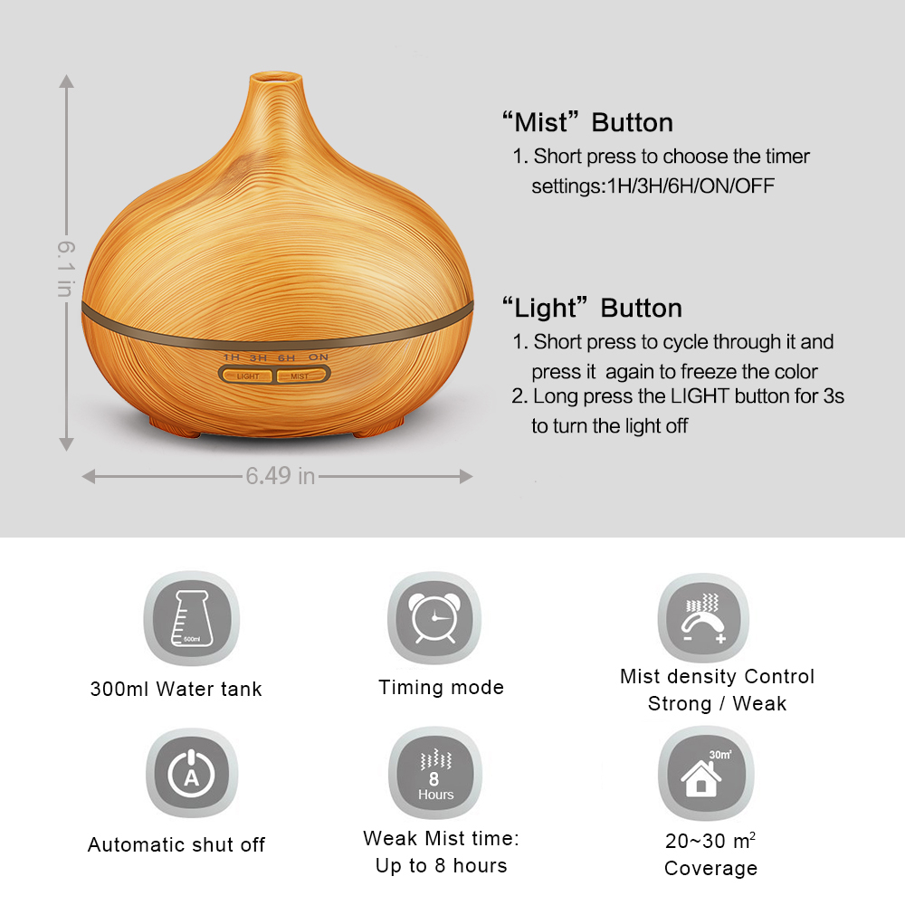 Image 4 - KBAYBO 300ML LED Lamp Electric Aroma Air Humidifier Essential air diffuser wood Air Purifier cool Mist Maker for home office Spamist makeraroma air humidifierair humidifier -