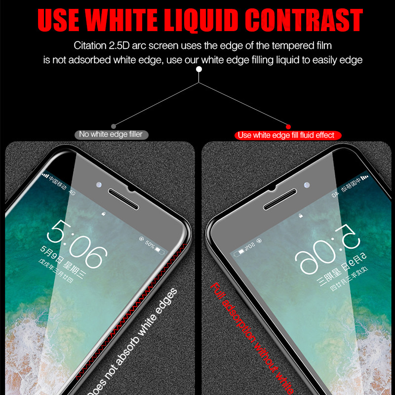 Full Cover Glass on the For  iPhone X XS Max XR Tempered Glass For iPhone 7 8 6 6s Plus 5 5S SE 11 Pro Screen Protector 4
