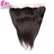 Beauty Forever 13*4 encaje Frontal liso brasileño, cabello libre de partes de oreja a oreja, 100% de cabello humano Remy Frontal