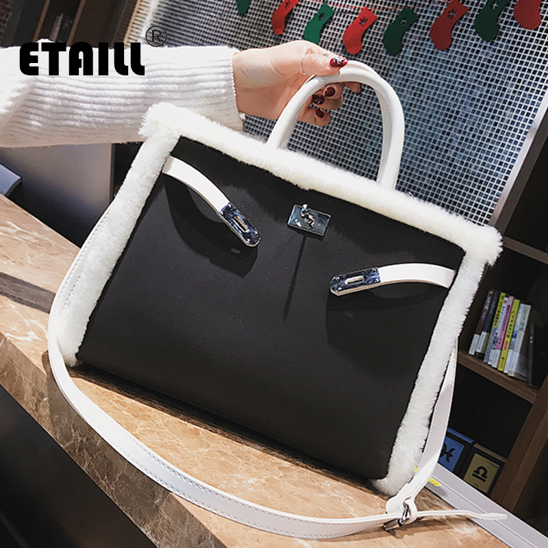 ETAILL Autumn Winter Warm Handbags For Women Brand Female White Faux Fur Shoulder Bags Big Large Capacity Hasp CrossBody Bag цена