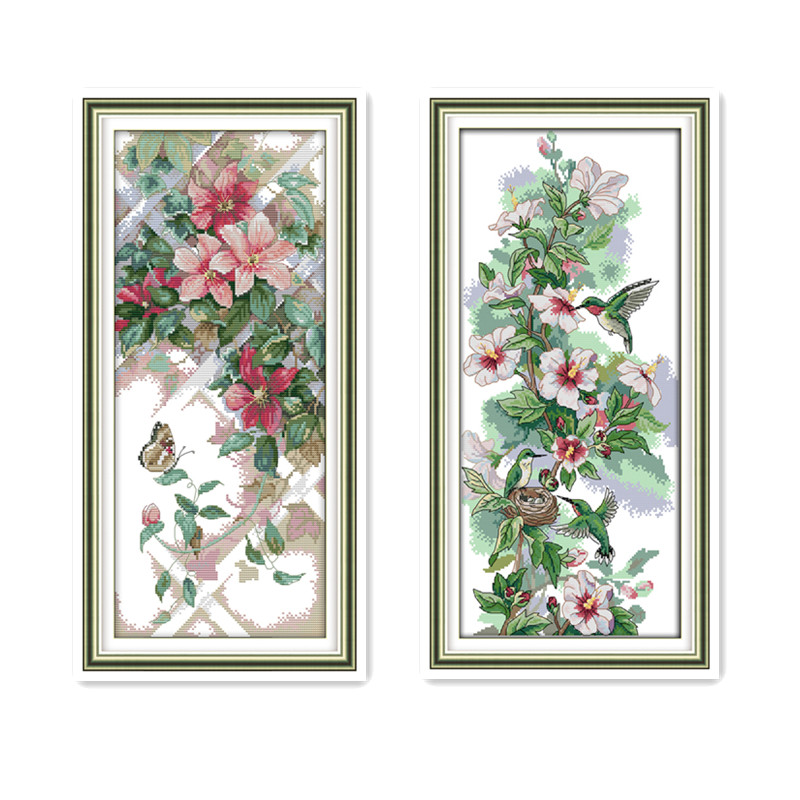 Joy Sunday Plant Flower Cross Stitch Kit 11CT 14CT Handmade DMC Embroidery Threads With Chinese Embroidery