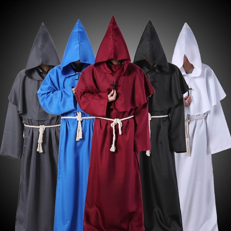 Horror Grim Reaper Costume Men Vintage Monk Cosplay Cloak Robe Scary Wizard Costume Halloween Costumes for women Dress 10