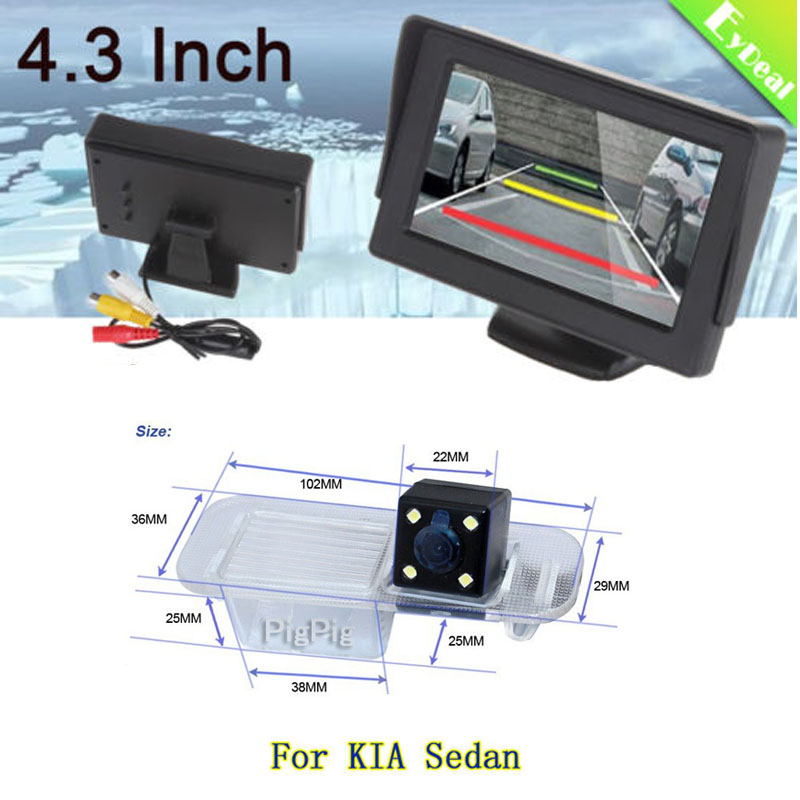 2in1 TFT LCD 2 Video Input 4.3 Inch Car Parking Monitor With CCD Backup Camera Rear View Camera for KIA Rio K2 Sedan, Free Ship