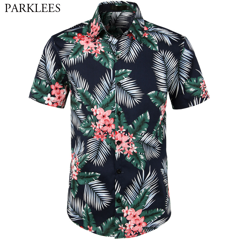 Summer Hawaii Shirt Men 2019 Short Sleeve Mens Beach Shirts Palm Tree Mens Dress Shirts Casual Slim Fit Floral Hawaiian Shirt