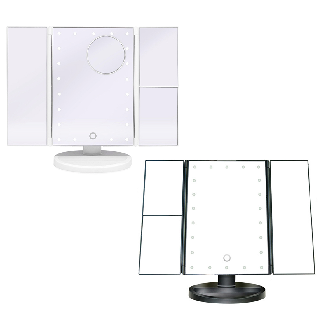 Folding Adjustable Mirror LED Touch Screen 22 Light Makeup Mirror Table Desktop Makeup 1X/2X/3X/10X Magnifying Mirrors