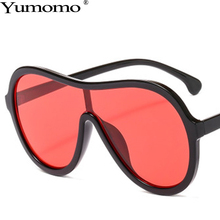 Yumomo Oversized Round Sunglasses Women Red Yellow Tinted Color Lens Vintage Plastic Frame Gradient UV400 Oculus Female Glasses