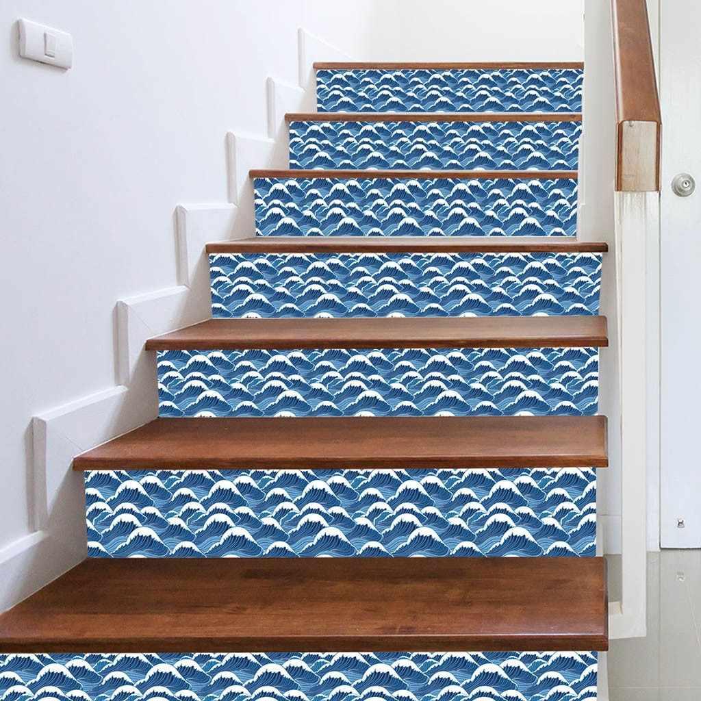 KAKUDER 3D ייחודי דפוס אריח קיר מדרגות מדבקות נשלף עמיד למים טפט קרמיקה קיר פוסטר לעיצוב בית 318 W