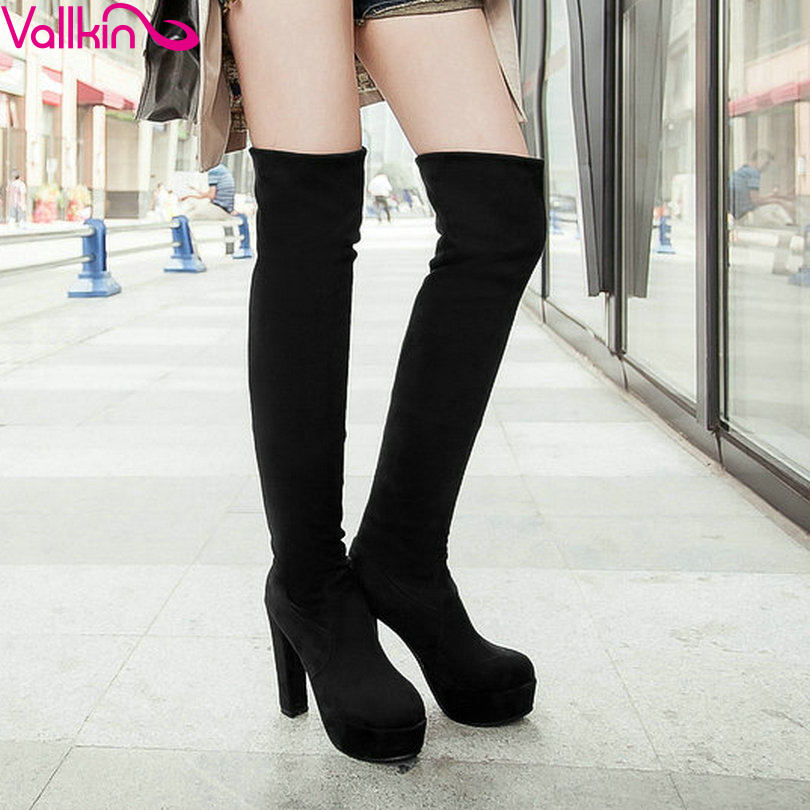 ФОТО VALLKIN Sexy Green Slim Look Party Long Boots Square High Heel Woman Over The Knee Boots Platform Women Fashion Boots