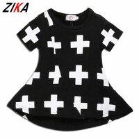 Ins ZIKA Dziewczynek Sukienki Punk Krzyż Druku Lato Dress Czarny Berbeć Dziewczyny Ubierają For12M-3T Dorywczo Dzieci Dziewczyny Ubrania