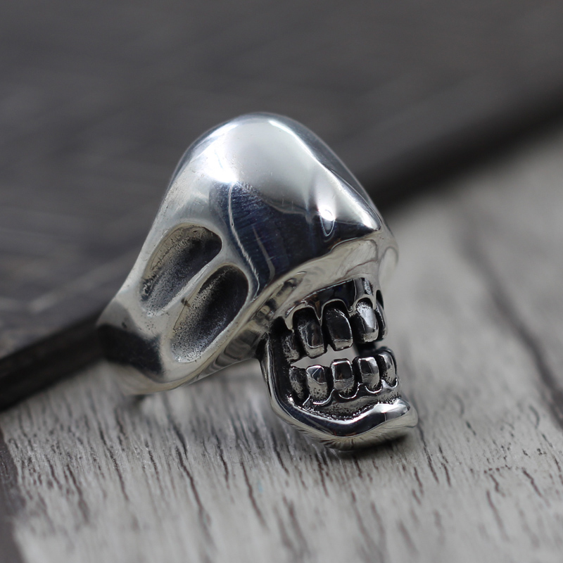 Pure Solid Silver 925 Gothic Skull Rings For Men Thick Wide Cuff Ring Cool 925 Sterling Silver Mens Jewelry Top Fashion Free Box cropped wide sleeve top