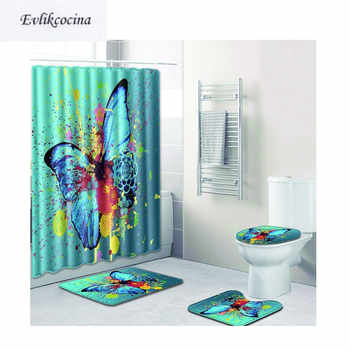 Free Shipping 4pcs Big Butterfly Banyo Paspas Bathroom Carpet Toilet Bath Mat Set Non Slip Tapis Salle De Bain Alfombra Bano - DISCOUNT ITEM  57% OFF All Category